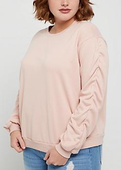 Plus Pink Ruched Sleeve Sweatshirt