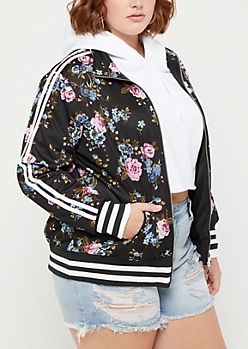Plus Floral Striped Track Jacket