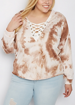 Plus Brown Tie Dye Lace Up Sweatshirt
