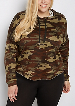 Plus Camo Raw Edge Cropped Hoodie