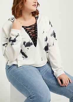 Plus Black Tie Dye Lace Up Sweatshirt