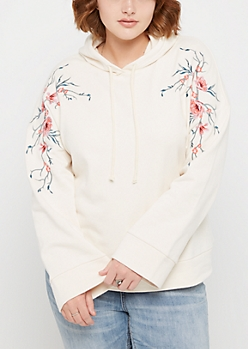 Plus Floral Embroidered Bell Sleeve Hoodie