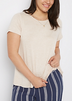 Plus Tan Marled Raw Cut Tee