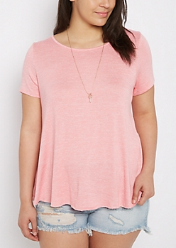Plus Coral Marled Raw Cut Tee