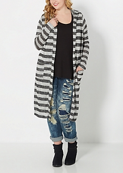 Plus Gray Striped Knit Duster