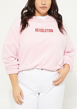 Plus Light Pink Revolution Plush Hoodie