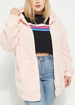 Plus Pink Oversized Sherpa Zip Up Hoodie