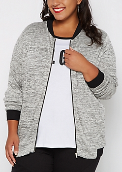 Plus Gray Space Dye Knit Bomber