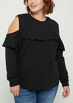 Plus Black Ruffle Shoulder Sweatshirt