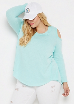 Plus Turquoise Washed Cold Shoulder Sweatshirt