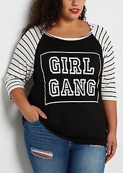 Plus Girl Gang Thermal Raglan Hooded Shirt