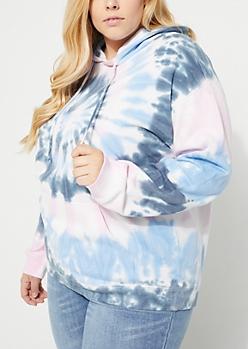 Plus Pink & Blue Tie Dye Hoodie