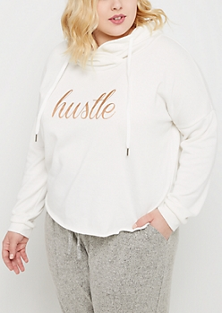 Plus Hustle Gold Foil Crop Hoodie