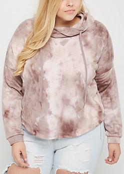 Plus Pink Tie Dye Crop Hoodie