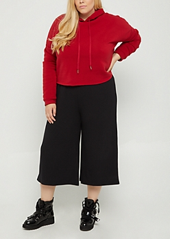 Plus Red Fleece Crop Hoodie