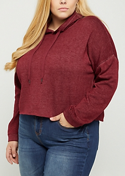 Plus Burgundy Mineral Washed Crop Hoodie
