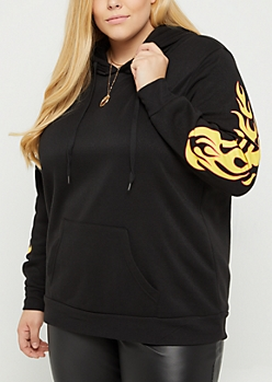 Plus Oversized Flame Pullover Hoodie