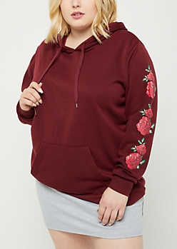 Plus Burgundy Oversized Rose Pullover Hoodie
