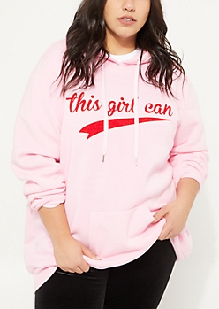 Plus Pink This Girl Can Fleece Hoodie