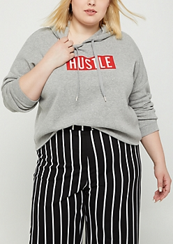 Plus Heather Gray Hustle Crop Hoodie