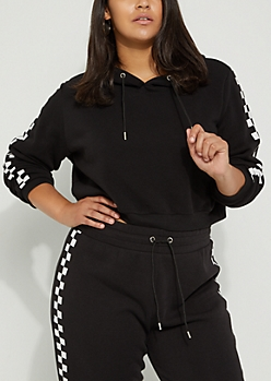 Plus Black Checkered Sleeve Crop Hoodie