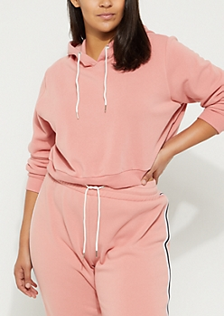 Plus Pink Striped Crop Hoodie
