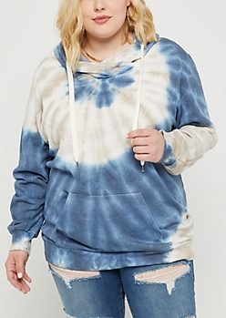 Plus Blue Tie Dye Fleece Hoodie