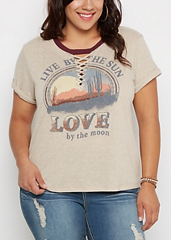 Plus Live By The Sun Lace-Up Tee