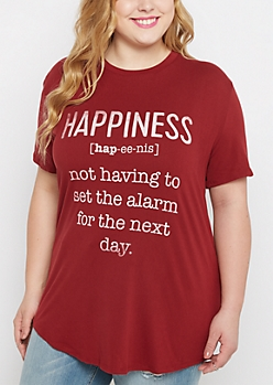Plus Happiness Snooze Brushed Tunic Tee