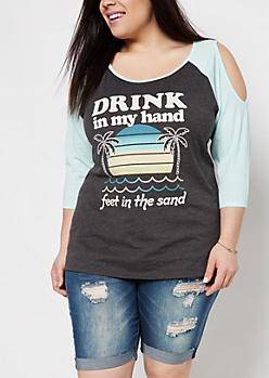 Plus Beach Drink Cold Shoulder Raglan Tee