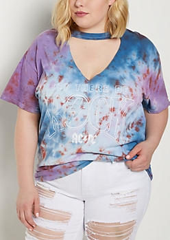 Plus Tie-Dye AC/DC Choker Neck Band Tee