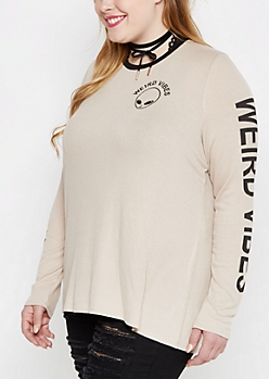 Plus Weird Vibes Ribbed Ringer Tee