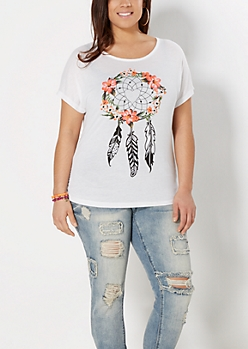 Plus Heart Dreamcatcher Ruched Tee
