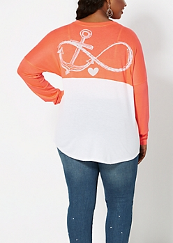 Plus Coral Infinity Anchor Top