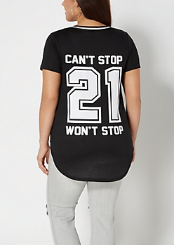 Plus Can't Stop 21 Varsity Tee