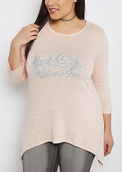 Plus Wild and Free Knit Sharkbite Top
