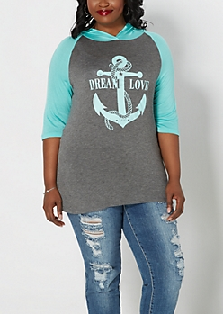 Plus Anchor Hooded Raglan Top