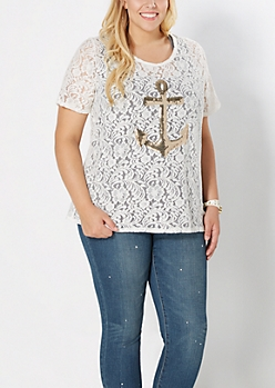 Plus Lace Sequined Anchor Skimmer Tee