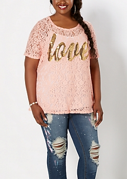Plus Pink Lace Love Tee