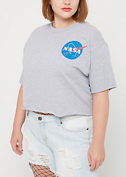 Plus NASA Raw Edge Crop Top