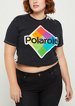 Plus Polaroid Tie Dye Crop Tee