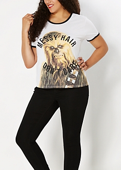 Plus Messy Hair Chewbacca Ringer Tee
