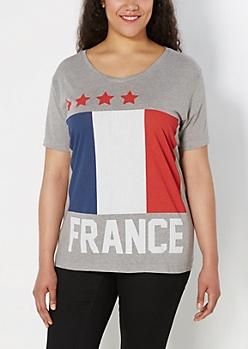 Plus French Flag V-Neck Tee