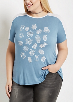 Plus Tossed Owl Paneled Yoke Tee