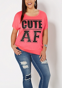 Plus Hot Pink Cute AF Tee