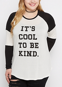 Plus Cool to Be Kind Pieced Baseball Tee
