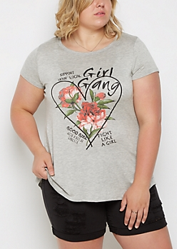 Plus Girl Gang Shirttail Tee