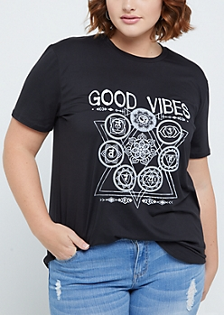 Plus Good Vibes Boho Soft Brushed Tee