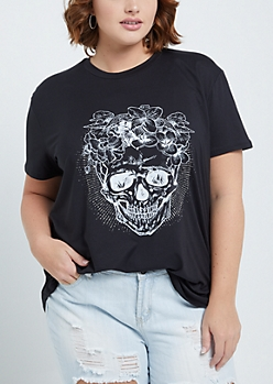 Plus Rosy Skull Soft Brushed Tee