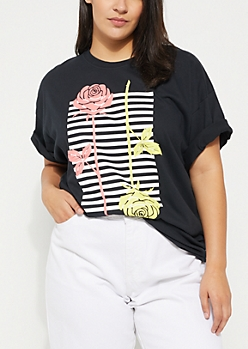 Plus Black Roses On Stripes Knit Tee